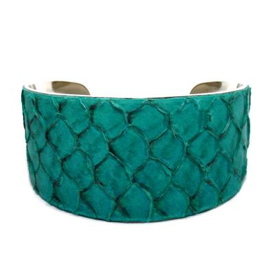 Bracelet manchette tilapia turquoise brillant